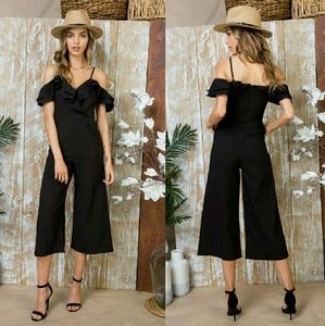 Tops - Solid Ruffle Cropped Jumpsuit - BLACK